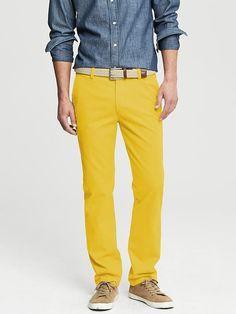 Banana Republic Mens Aiden Slim Fit Chino Size 38W 36L Tall - Yellow
