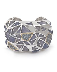 Kara Ross extra large pyramid cuff bracelet, sterling silver with chalcedony and aqua marine sapphires