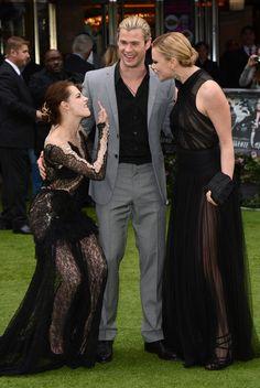 Kristen Stewart, Chris Hemsworth and Charlize Theron