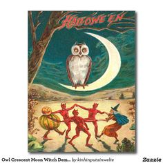 Owl Crescent Moon Witch Demon Creature Postcard