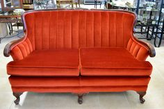 """Spectacular 1920's Velvet Settee in Burnt Orange - Tufted Shell Back - """"In beautiful condition!"""" - 55""""W X 33""""H X 28""""D X 18"""" Seat Height"""