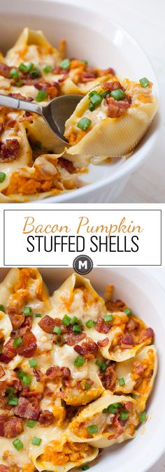 Bacon Pumpkin Stuffed Shells: About as fall as a pasta dish gets. You want to make this right now. Crispy bacon and creamy Gouda and pumpkin all in a baked pasta! macheesmo.com