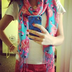 Love the Lilly Pulitzer flamingo print scarf #sratty