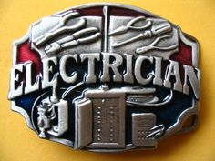 ELECTRICIAN TOOLS ELECTRICITY WIRE PEWTER BELT BUCKLE- but plain pewter.