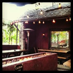 The Den of Hollywood - Sundays 11-2 $14 bottomless mimosas or bloodies w/ entree.  Fire pit in the cool patio.  tvs inside.
