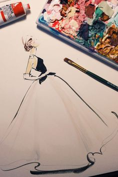 Met Ball 2014 Fashion Sketches - Sarah Jessica Parker's Oscar de la Renta gown sketch by Katie Rodgers aka Paper Fashion Fashion Illustration Sketches, Illustration Mode, Fashion Sketchbook, Fashion Sketches, Fashion Drawings, Illustrations Posters, Paper Fashion, Fashion Art, Fashion Design