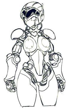 female robot by yunBE on DeviantArt Robot Design, Design Art, Game Design, Character Concept, Character Art, Robots Drawing, How To Draw Robots, Robot Sketch, Arte Robot
