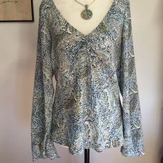 The Limited Silk Blouse- Med Beautiful 100% silk blouse with cinched adjustable tie at bust and gorgeous bell sleeves! Perfect condition  The Limited Tops Blouses
