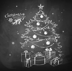 Chalkboard Christmas Tree Gift Backdrops For Photography Dbd- Dbackdrop Happy New Year Outdoor Christmas Tree Decorations, Christmas Tree With Gifts, Christmas Art, Christmas Kitchen, Painted Christmas Tree, Xmas, Christmas Tree Drawing, Christmas Paintings, Christmas Chalkboard Art