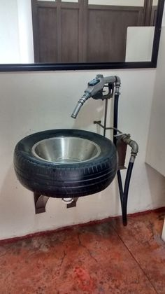 Reuse, recycle, up cycle Washing machine drum/kitchen sink fire pit, BBQ Tire Furniture, Garage Furniture, Car Part Furniture, Automotive Furniture, Automotive Decor, Industrial Furniture, Cool Furniture, Furniture Design, Furniture Outlet