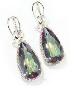 Mystic Topaz Earrings Need to get these to match my ring and necklace. Topaz Earrings, Drop Earrings, Stylish Eve, Pink Gemstones, Mystic Topaz, Jewelry Box, Sterling Silver, Rocks, Closet