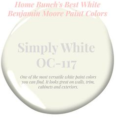 Simply One of the most versatile white paint colors you can find. It looks great on walls, trim, cabinets and exteriors. Home Bunch's Best White Benjamin Moore Paint Colors Trim Paint Color, White Paint Colors, Paint Color Schemes, Exterior Paint Colors For House, Interior House Colors, Paint Colors For Home, Best White Paint, White Paints, Painting Trim