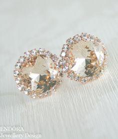 Champagne crystal earrings Champagne earrings by EndoraJewellery | #EndoraJewellery - Custom Swarovski crystal bridal, bridesmaid and flower girl jewelry
