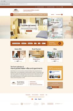 layout design for a vacation rentals website Italian Rentals 4 U