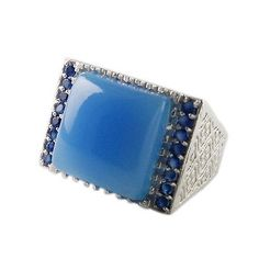 NEW DESIGN 2016 MEN'S  925 STERLING SILVER SOLID RING AQUA CHALCEDONY JEWELRY