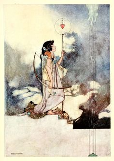 """The Songs and Sonnets of William Shakespeare illustrated by Charles Robinson. IN THE COURT OF LOVE Mine eye and heart are at a mortal war How to divide the conquest of thy sight ; Mine eye my heart thy picture's sight would bar, My heart mine eye the freedom of that right."""" via The Art of Pierangelo Boog."""