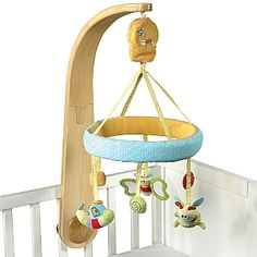 Little Bird Told Me Luxury Cot Mobile - With it's beautiful curved wooden arm, this luxury mobile makes an elegant style statement in any nursery. The traditional wind up music box causes the soft characters to gently rotate as the soothing melody plays.    #gifts #babies