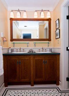 Craftsman style kitchen design by Vintage Kitchens Craftsman Style Bathrooms, Craftsman Decor, Craftsman Interior, Craftsman Style Homes, Craftsman Tile, Bathroom Styling, Kitchen Styling, Mission Style Homes, Arts And Crafts Interiors