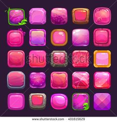 Funny cartoon pink square buttons collection, vector assets for game or web design