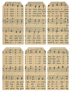 Music lyrics, printable tags or labels Journal Cards, Junk Journal, Bullet Journal, Vintage Tags, Vintage Labels, Printable Tags, Free Printables, Card Tags, Gift Tags
