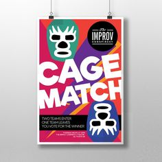 Create a colourful, cartoonish poster for competitive comedy show Cage Match by NSPCreative