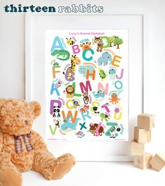 This is our new 'Children's Animal Alphabet Print'. Bright, cute and colourful, this Thirteen Rabbits wall art is perfect for the bedroom of a little boy or girl or a nursery! Alphabet Print, Animal Alphabet, Childrens Wall Art, New Room, Rabbits, Little Boys, Boy Or Girl, Dinosaur Stuffed Animal, Nursery