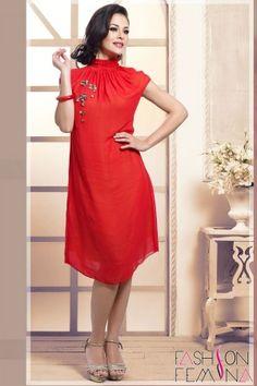 Red Short Georgette Kurti For Girls #kurtis, #designerkurtis, #smartkurtis, stylishkurtis, #dresses, #shortkurti, #ladieskurti, #embroiderykurti, #girlskurti, #topkurti, #bestkurti, #hotkurti