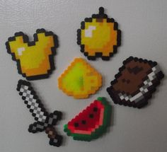 Minecraft Items Perler Bead Magnet Set by TheMeltedGeek Perler Bead Designs, Diy Perler Beads, Pearler Bead Patterns, Perler Bead Art, Pearler Beads, Hama Beads Minecraft, Minecraft Crafts, Minecraft Stuff, Minecraft Party
