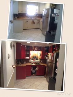 I repainted my kitchen to give it a more warm country look! Not finished yet tho #diy