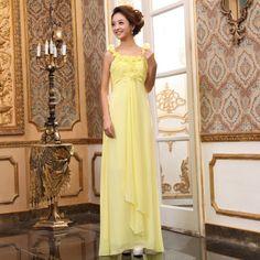 The bride toast formal dress formal dress high waist evening dress evening dress yellow formal dress long formal dress costume