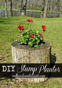 DIY Stump Planter by redheadcandecorate.com