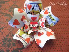 Playing Card Brooch or Hair Accessory - Queen of Hearts Alice in Wonderland