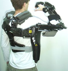 Photo of a man with robotic exoskeleton RUPERT: a device for robotic repetitive therapy. Source: Jiping He, Arizona State University via NIH (National Institute of Biomedical Imaging and Bioengineering)