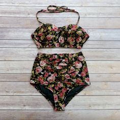 e8421517b7 High Waist Bustier Bikini Ruched Panel Briefs - Vintage Style Pin-up  Swimwear - Beautiful Antique Rose Pink Black Floral Retro Swimsuit