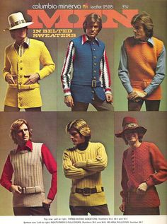 Knitted belted tunic sweaters for men, c. 1970s.  Bottom row center!
