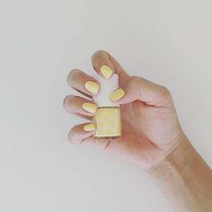 A precious pastel and matte yellow nail polish for a sweet touch . Shop at The Organic Project by theorganicproject - pinnerman Natural Nail Designs, Black Nail Designs, Cool Nail Designs, Matte Nails, Red Nails, Hair And Nails, Goth Nails, Yellow Nail Polish, Yellow Nail Art