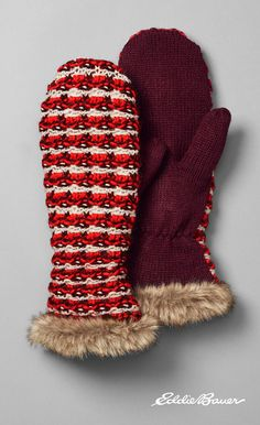 Women's Textured Fur-Trimmed Mittens | Put up a strong and stylish defense against winter blasts with these mittens. Textured acrylic is trimmed with ultrasoft polyester faux fur at the cuffs. Mittens match our Textured Fur-Trimmed Mittens and Scarf.