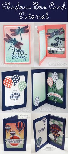 handmade shadow box fancy fold card tutorial - using Stampin Up Dragonfly Dreams - Detailed Dragonfly, Balloon Adventures & Balloon pop up dies, Lift Me Up - Up in the Air. Cards by Di Barnes #colourmehappy 2017 Occasions catalogue - 2017-18 annual catalogue pdf tutorial download
