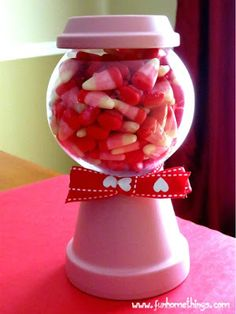 Fun Home Things: Valentine's Day Crafts--Clay Pot Candy Jar - thinking of making an OSU one for hubby for Christmas filled with kisses :D