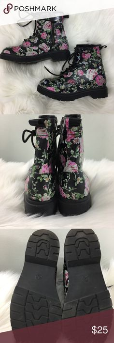 Mossimo Supply Co. Floral Combat Boots Excellent condition, side zipper floral combat boots. Shoes Combat & Moto Boots