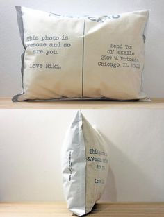 Custom Postcard Photo Pillows by Finch&Cotter