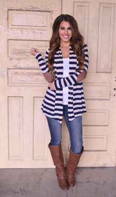 Striped Cardi- Navy - Dottie Couture Boutique