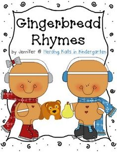 Gingerbread Rhymes: a fun matching activity for your literacy centers! Students match the rhyming pictures and then complete a cut & paste worksheet!