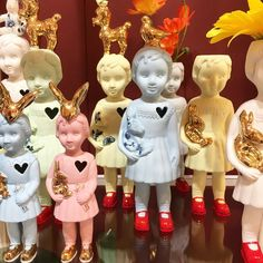 Pastel ceramic doll parade. Shop your favourite online or in our store in Amsterdam. Handmade with love by Lammers & Lammers. Porcelain Clonette dolls from Store Without a Home, Amsterdam storewithoutahome.nl