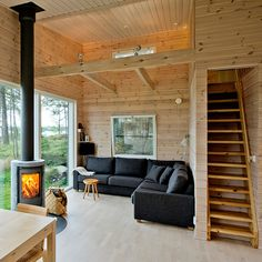Summer cabin by Sunhouse from Finland Tiny House Cabin, Tiny House Living, Home And Living, Cabin Interior Design, House Design, Casas Containers, A Frame House, Forest House, Cabin Interiors