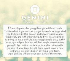 #Gemini horoscope April 2014