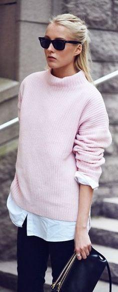 black denim street style pastel heavy knit