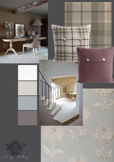 1.& 6.Sims Hilditch interior design and Neptune handmade interiors 2.Fabric'Robert Robertson Lowland' wool tweed by Anta 3.& 4.Cushions 'Gill Scott' linen & 'Teal' linen by Anta 5.Wallpaper 'Dahlia' sky by Clarke & Clarke