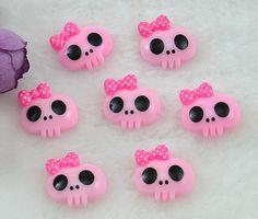 1 Pink Monster Skull Wearing Bow Resin Flatback Cabochon Hair Bow Center Embellishments