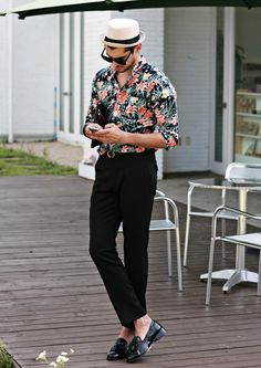 BLACK JUNGLE FLORAL PRINTED CASUAL SHIRTS #strunway
